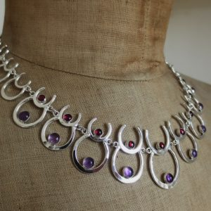 HJ_BESPOKE_Wedding Ani neckpiece. Horseshoe reps their love of horses, the stones are their birthstones 2