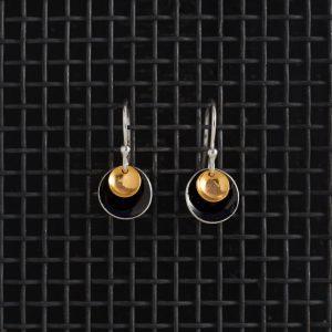 Earrings-Enamel Drop-Black-Small