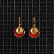 Earrings-Enamel Drop-Echutchan Red-Large
