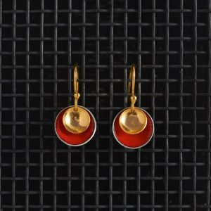 Earrings-Enamel Drop-Echutchan Red-Large