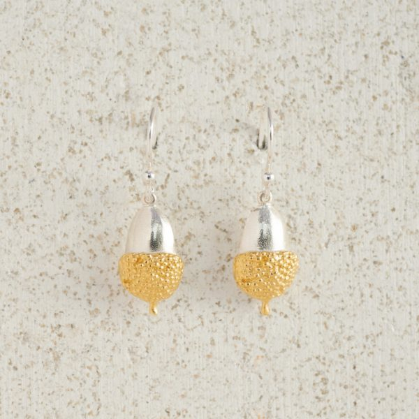 Earrings-Charm Drop-Acorn-Small-Gold
