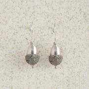 Earrings-Charm Drop-Acorn-Small-Silver