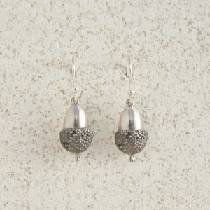 Earrings-Charm Drop-Acorn-Small-Silver