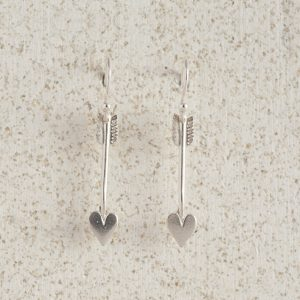 Earrings-Charm Drop-Arrow-Small-Silver