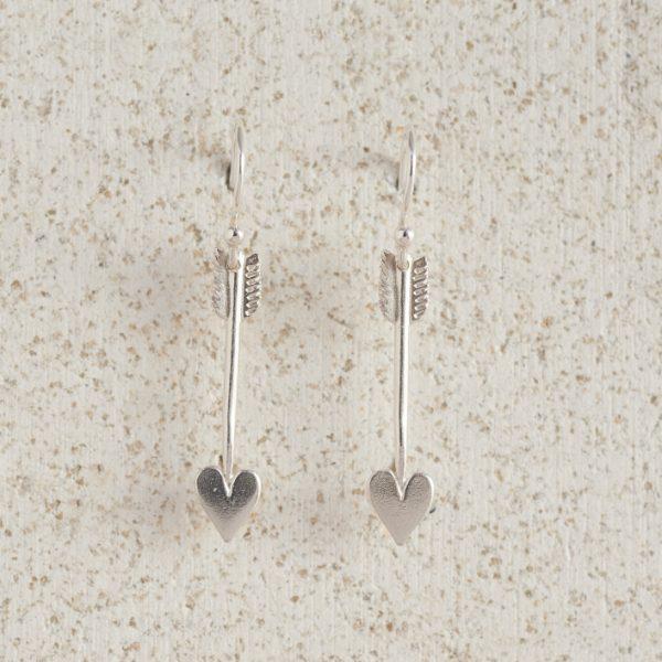 Earrings-Charm Drop-Arrow-Small-Silver