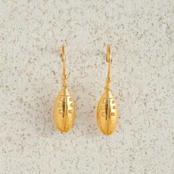 Earrings-Charm Drop-Beetle-Gold