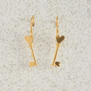 Earrings-Charm Drop-Key-Gold