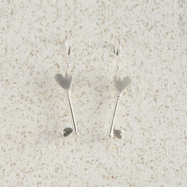 Earrings-Charm Drop-Key-Silver