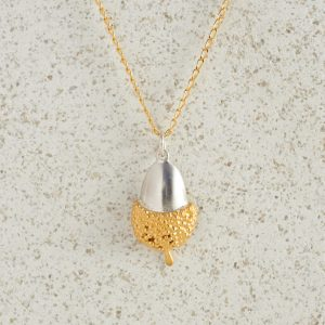 Necklaces-Charm Pendants-Acorn-Large-Gold