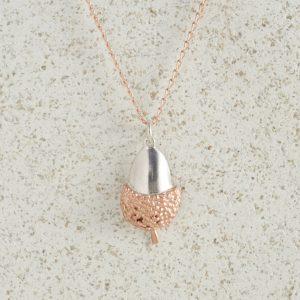 Necklaces-Charm Pendants-Acorn-Large-Rose