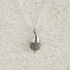 Necklaces-Charm Pendants-Acorn-Small-Silver