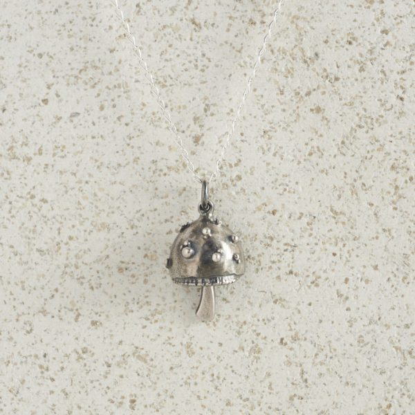 Necklaces-Charm Pendants-Mushroom-Silver