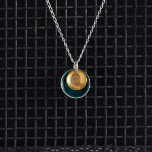 Necklaces-Enamel Pendant-Teal-Large